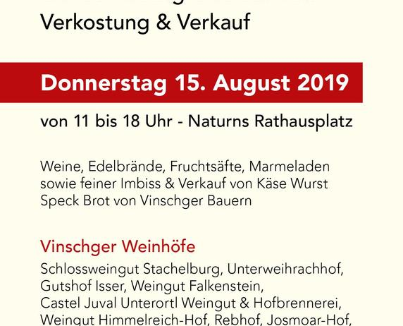 Wine  Market of wines of the Vinschgau Valley, 09.august